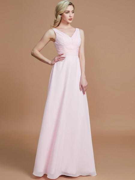 A-Line/Princess Floor-Length Chiffon V-neck Bridesmaid Dresses