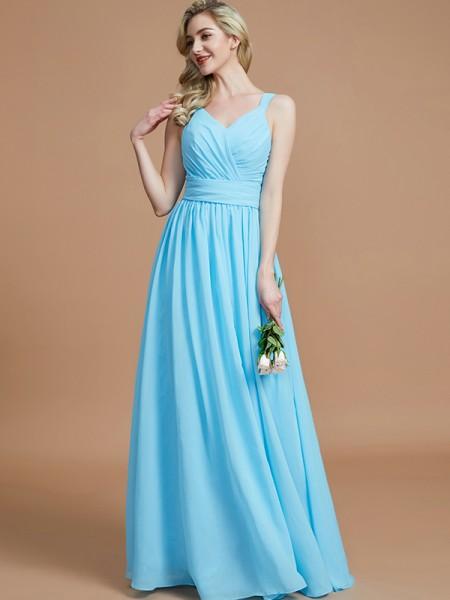 A-Line/Princess Chiffon V-neck Floor-Length Bridesmaid Dresses