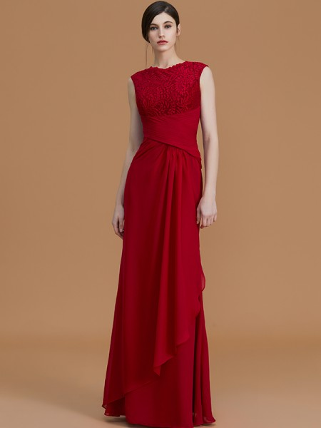 Sheath/Column Jewel Floor-Length Chiffon Bridesmaid Dresses