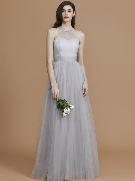 A-Line/Princess Halter Floor-Length Tulle Ruffles Bridesmaid Dresses