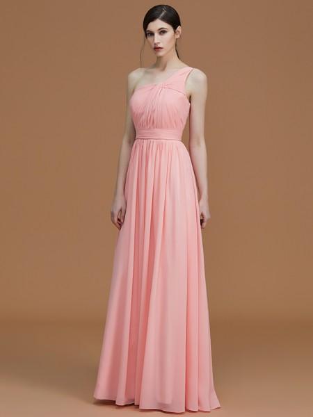 A-Line/Princess One-Shoulder Floor-Length Chiffon Ruched Bridesmaid Dresses