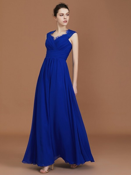 A-Line/Princess Sweetheart Floor-Length Chiffon Ruffles Bridesmaid Dresses