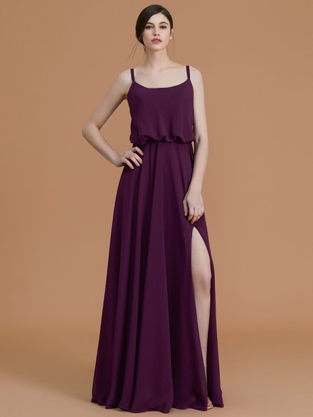 A-Line/Princess Spaghetti Straps Floor-Length Chiffon Ruffles Bridesmaid Dresses
