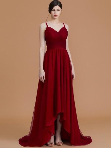 A-Line/Princess Spaghetti Straps Asymmetrical Chiffon Ruffles Bridesmaid Dresses