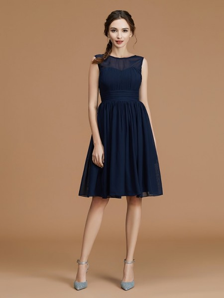A-Line/Princess Bateau Short/Mini Chiffon Ruffles Bridesmaid Dresses
