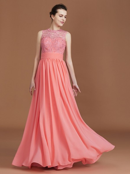 A-Line/Princess Jewel Floor-Length Chiffon Bridesmaid Dresses