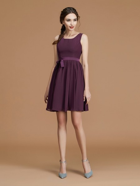 A-Line/Princess Bateau Short/Mini Chiffon Sash/Ribbon/Belt Bridesmaid Dresses
