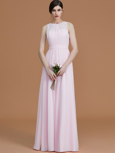 A-Line/Princess Jewel Floor-Length Chiffon Ruched Bridesmaid Dresses