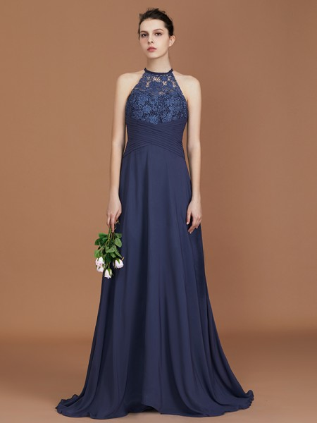 A-Line/Princess Scoop Sweep Train Chiffon Bridesmaid Dresses