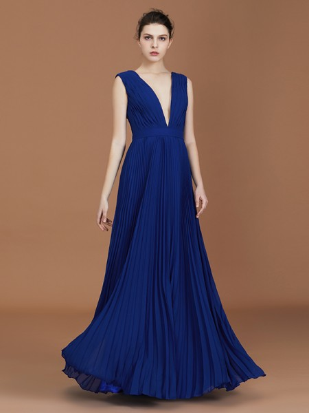 A-Line/Princess V-neck Pleated Floor-Length Chiffon Bridesmaid Dresses