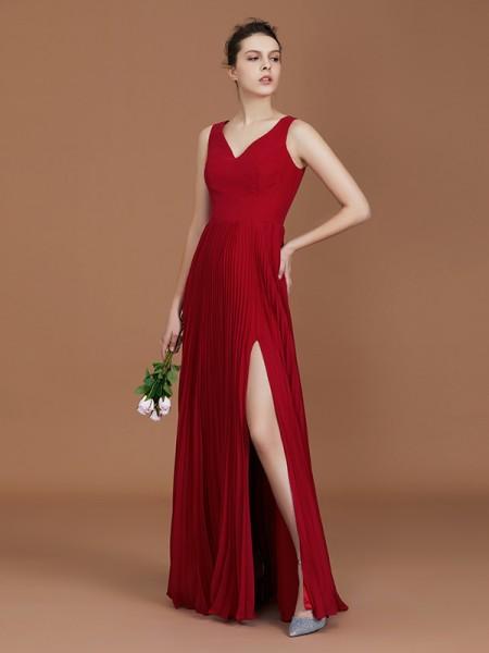 A-Line/Princess V-neck Floor-Length Chiffon Ruched Bridesmaid Dresses