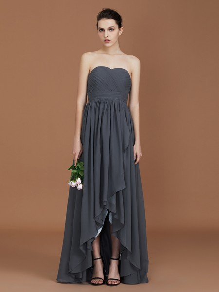A-Line/Princess Asymmetrical Sweetheart Floor-Length Chiffon Ruched Bridesmaid Dresses