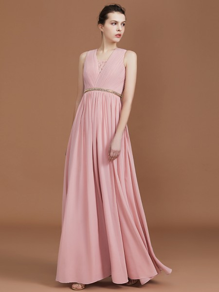 A-Line/Princess Lace Floor-Length Chiffon V-neck Ruched Bridesmaid Dresses