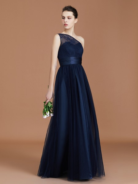 A-Line/Princess One-Shoulder Tulle Floor-Length Bridesmaid Dresses