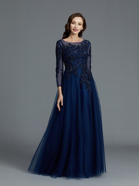 A-Line/Princess Scoop Floor-Length Tulle Mother of the Bride Dresses