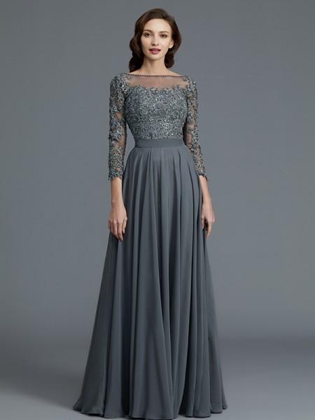 A-Line/Princess Bateau Floor-Length Chiffon Mother of the Bride Dresses