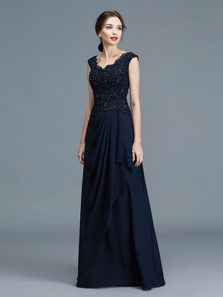 A-Line/Princess V-neck Floor-Length Chiffon Ruffles Mother of the Bride Dresses