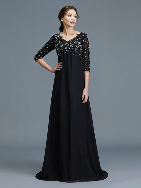 A-Line/Princess Chiffon V-neck Floor-Length Mother of the Bride Dresses