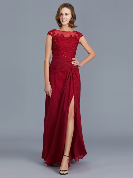 Sheath/Column Scoop Chiffon Floor-Length Ruffles Mother of the Bride Dresses