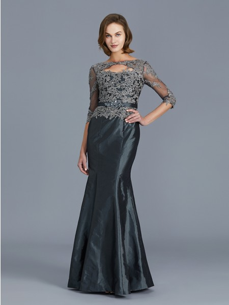 Trumpet/Mermaid Scoop Floor-Length Taffeta Applique Mother of the Bride Dresses
