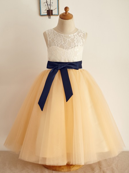 A-Line/Princess Tulle Bowknot Scoop Sleeveless Floor-Length Flower Girl Dresses