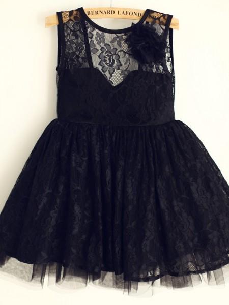 A-Line/Princess Tulle Scoop Sleeveless Knee-Length Flower Girl Dresses