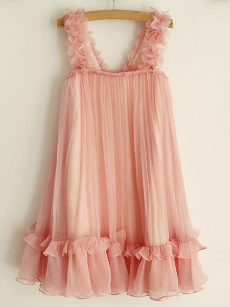 A-Line/Princess Straps Ruffles Sleeveless Chiffon Knee-Length Flower Girl Dresses