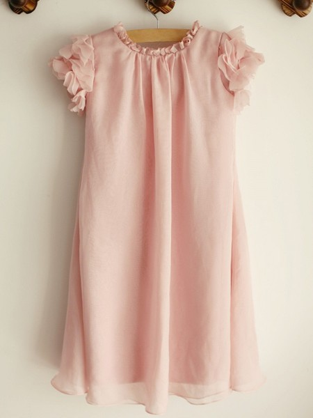 A-Line/Princess Scoop Sequin Sleeveless Tulle Knee-Length Flower Girl Dresses