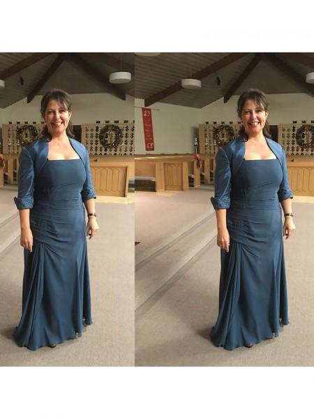 Sheath/Column Strapless Floor-Length Chiffon Mother Of The Bride Dresses