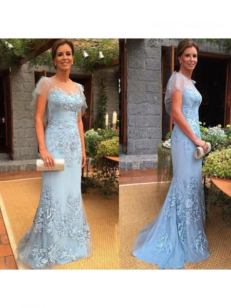 Sheath/Column Sheer Neck Sweep/Brush Train Tulle Applique Mother of the Bride Dresses