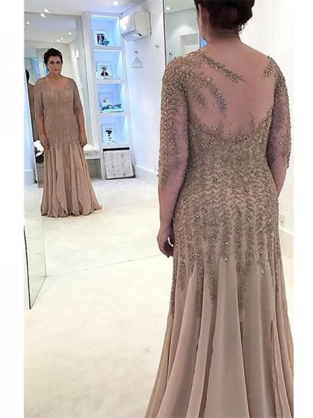 Sheath/Column Sheer Neck Floor-Length Chiffon Applique Mother of the Bride Dresses