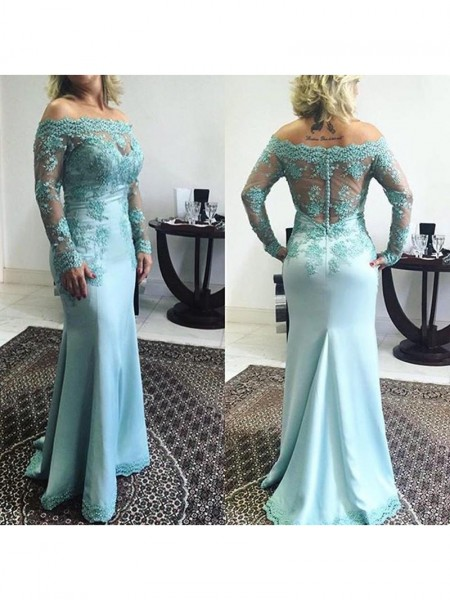 Trumpet/Mermaid Off-the-Shoulder Sweep/Brush Train Elastic Woven Satin Mother of the Bride Dresses