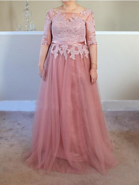 A-Line/Princess Bateau Floor-Length Tulle Applique Mother of the Bride Dresses