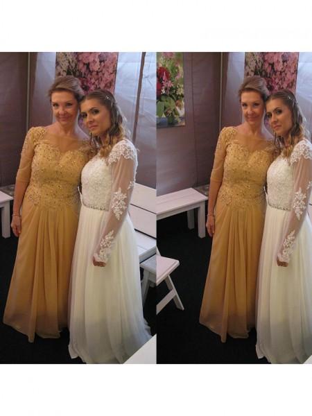 A-Line/Princess Bateau Floor-Length Chiffon Applique Mother of the Bride Dresses