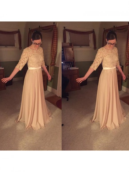 A-Line/Princess Sheer Neck Lace Floor-Length Chiffon Mother Of The Bride Dresses