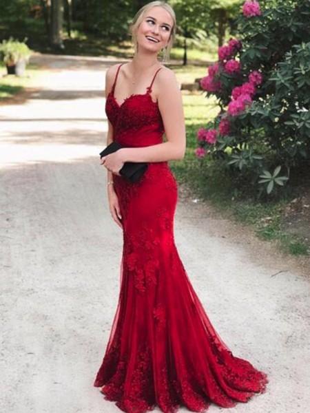 Trumpet/Mermaid Sleeveless Spaghetti Straps Sweep/Brush Train Lace Applique Dresses