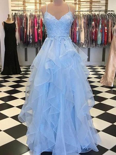 A-Line/Princess Sleeveless Spaghetti Straps Applique Floor-Length Organza Dresses