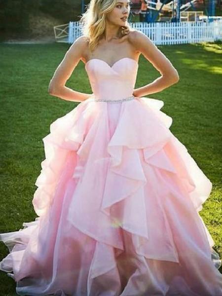 Ball Gown Sleeveless Sweetheart Floor-Length Beading Organza Dresses