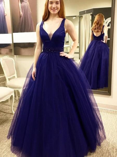 Ball Gown V-neck Sleeveless Floor-Length Beading Tulle Dresses