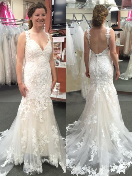 Trumpet/Mermaid Tulle Applique Straps Sleeveless Sweep/Brush Train Wedding Dresses
