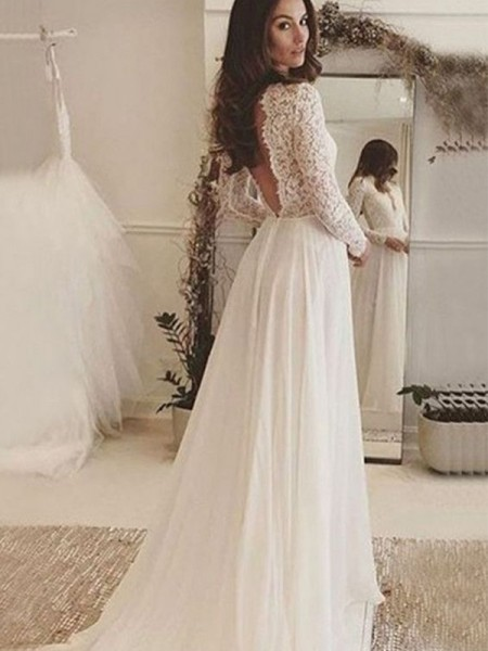 A-Line/Princess Chiffon Lace Scoop Long Sleeves Sweep/Brush Train Wedding Dresses
