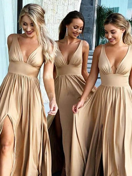 A-Line/Princess V-neck Sleeveless Sweep/Brush Train Ruffles Spandex Bridesmaid Dresses