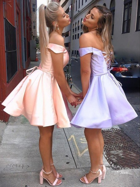 A-Line/Princess Satin Ruffles Off-the-Shoulder Sleeveless Short/Mini Dresses