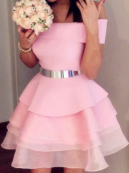 A-Line/Princess Organza Sash/Ribbon/Belt Off-the-Shoulder Sleeveless Short/Mini Dresses