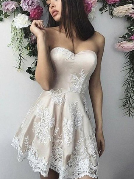 A-Line/Princess Lace Applique Sweetheart Sleeveless Short/Mini Dresses