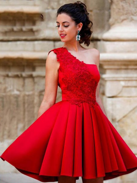 A-Line/Princess Satin Applique One-Shoulder Sleeveless Short/Mini Dresses
