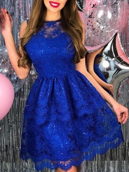 A-Line/Princess Lace Applique Sheer Neck Sleeveless Short/Mini Dresses