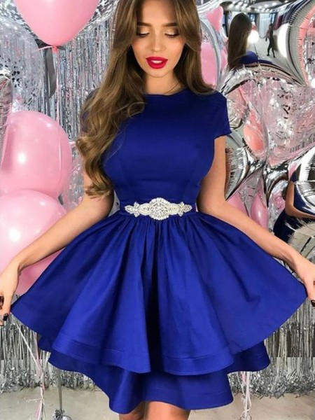 A-Line/Princess Satin Sash/Ribbon/Belt Sheer Neck Short Sleeves Short/Mini Dresses