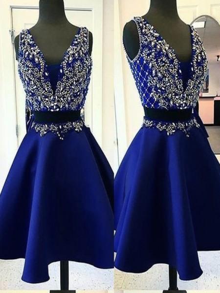 A-Line/Princess Satin Beading V-neck Sleeveless Short/Mini Two Piece Dresses