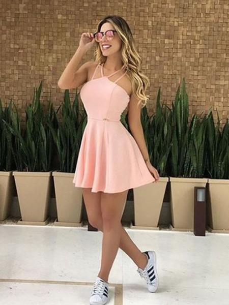 A-Line/Princess Spandex Ruffles Spaghetti Straps Sleeveless Short/Mini Dresses